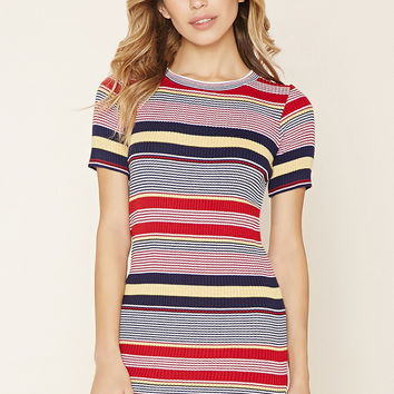 Multi-Stripe Ribbed Dress | Forever 21 - 2000223678