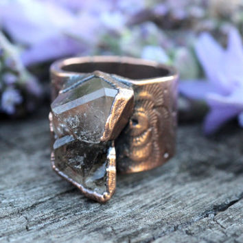 Raw Crystal Ring Bohemian Ring Natural Stone Ring Natural Crystal Ring Healing Crystals and Stones Quartz Ring Statement Ring Rough Stone