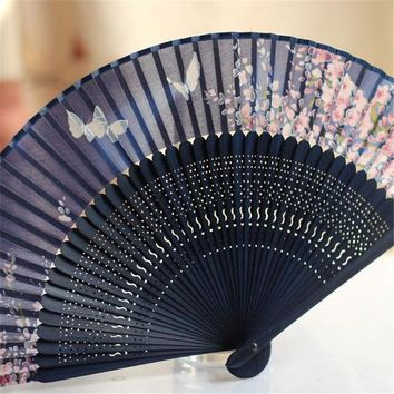 18*36cm Chinese Japanese Folding Pan Silk Dance Fan Blue Butterfly Hand Flower Bamboo Asian Pocket Folding Fan Wedding Supplies