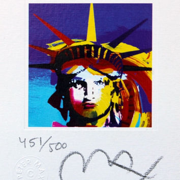 Liberty Head VII (mini), Limited Edition Lithograph, Peter Max