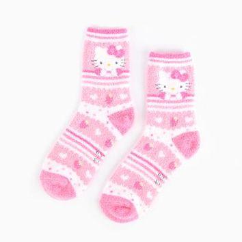 Hello Kitty Adult Crew Socks: Light Pink