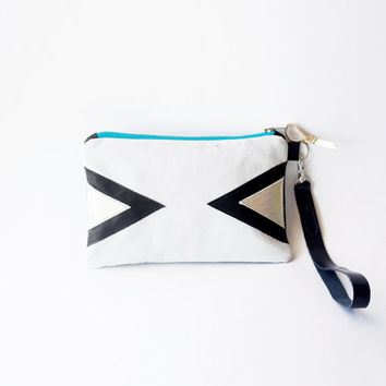 White Leather Wristlet, Art Deco Wallet Purse, Metallic Gold Black Geometric Clutch, Birthday Gift, Travel Pouch, Cosmetic bag, Wedding
