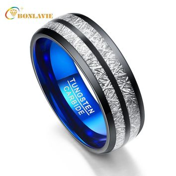 Wedding Band 8mm Width Exquisite Men Women Rings Black Blue Tungsten Carbide Rings Couple Anillos Fashion Jewelry