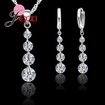 YAAMELI Genuine 925 Sterling Silver Super Shining Cubic Zirconia Pendant Necklace Earrings Sets For Women Ladies Crystal Jewelry