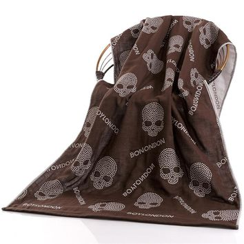 100% cotton Towel Skull Summer Beach Towel 3 layer Gauze home bathroom washrag Shower, Beach, bath Skull Towels 70*140cm coffee