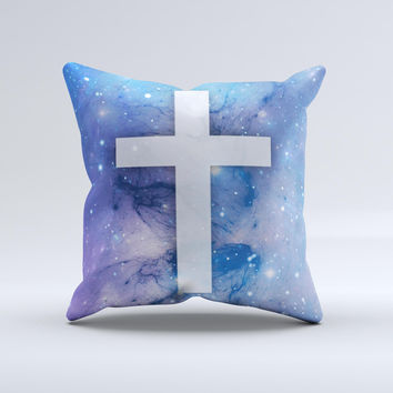 Vector White Cross v2 over Space Nebula  Ink-Fuzed Decorative Throw Pillow