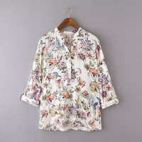 White Floral Print V-Neck Cuff Sleeve Blouse