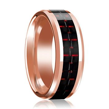 14K Wedding Band Rose Gold with Black & Red Carbon Fiber Inlay Beveled Edges Polished Ring