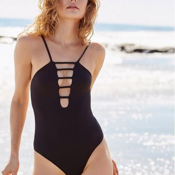 Beach Hot New Arrival Swimsuit Swimwear Summer Black Sexy Spaghetti Strap Bikini [10467568980]