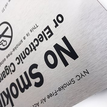 """""""NYC Smoke-Free Air Act Local Law No. 152 of 2013"""" - 6"""" x 8"""" No Smoking or Electronic Cigarette Use Brushed Aluminum Sign"""