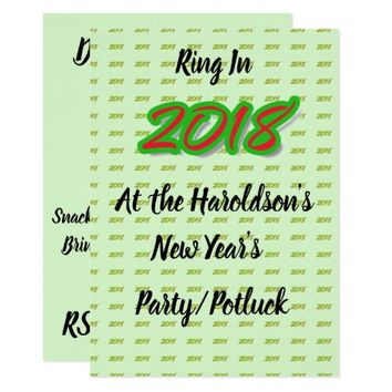 2018 New Year's Party/Potluck Invitation