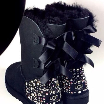 Crystal Bling Ugg Bailey Bow Boots made with Genuine Swarovski Crystals in Sparkly Night