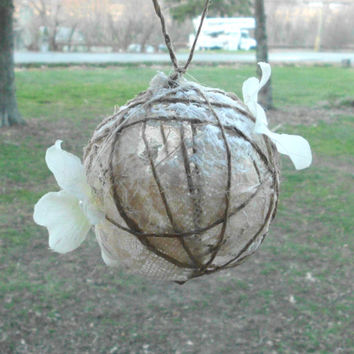Lace, Burlap, and Twine Ornament, Flower, Pearl, Rustic, Vintage, Christmas Decoration, Jute, Shabby Chic, Primitive, Country, wedding gift