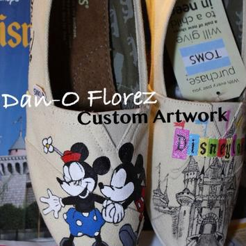 Vintage Disneyland and Mickey Mouse kissing Minnie Mouse Themed Custom painted Disney