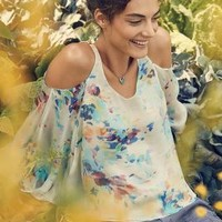 Watercolor Silk Top by Maeve Yellow