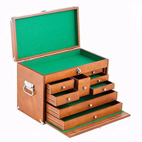 Wood Toolbox Brown Wooden Chest Craftsman Cabinet Tool Storage Box Drawer NEW!