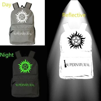 noctilucous bag Supernatural SPN Reflective Backpack Unisex Fashion Backpack Laptop Backpack school bag Daily backpack
