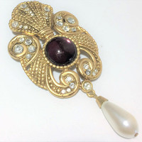 Jeff Lieb Crystal Rhinestone Brooch Pin Purple Cabochon Dangling Faux Pearl Elegant Romantic Vintage Jewelry 618ms