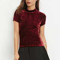 Velveteen Mock-Neck Top