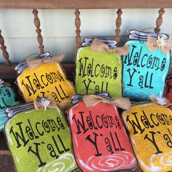 Small Burlap Mason Jar Door Hanger - Outdoor Decor