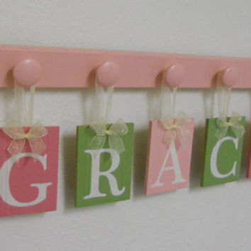 Handmade Nursery Decorations Wooden Letters Includes 5 Pegs and Custom Baby Name GRACE Painted Light Green and Pinks Personalized Baby Gift