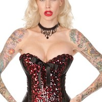 Sequins/Satin Corset - Red with Attached Garter