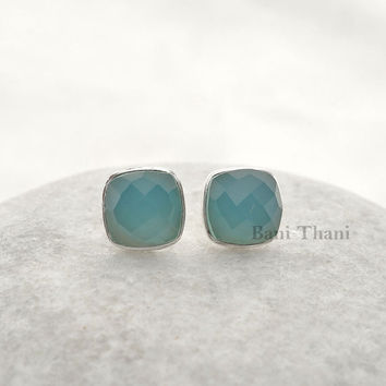 Silver earring, Stud Earring, Gemstone earring, Blue Chalcedony Faceted Cushion 9mm 925 Sterling Silver Stud Earring - #1624