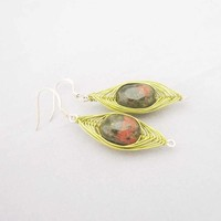 Wire Wrapped Earrings, Jasper Earrings, Green Earrings, Jewelry,Gemstone