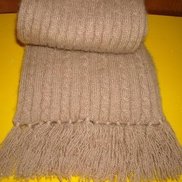 Mens Vintage Polo Ralph Lauren Camel Hair Cable Knit Winter Scarf