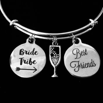 Best Friends Bride Tribe Jewelry Expandable Charm Bracelet Adjustable Wire Bangle Wedding Shower Bridal Trendy One Size Fits All Gift Champagne