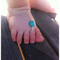 Baby barefoot sandals, Turquoise , sterling silver baby ,baby boy, December birthstone, baby bling, baby girl, baptism