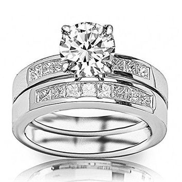 CERTIFIED | 14K White Gold 1.45 CTW Round Cut Classic Channel Set Princess Cut Diamond Engagement Ring and Wedding Band Set, H-I Color VS1-VS2 Clarity Center Stone (Platinum, Yellow, White, Rose)