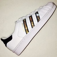 Bling Adidas with Swarovski Crystals * Women's Original Superstar Shoes Bedazzled w/ G