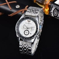 KUYOU A0005 Armani Solid Stainless Steel Watchand Emporio Watches White