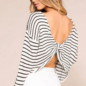 Isabelle Striped Twist Back Sweater