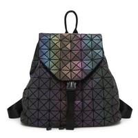 New women laser backpack Geometric Shoulder Bag Student's School Bag Hologram Luminous backpack Laser silver baobao backpack
