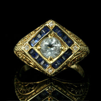 Vintage 14k Gold Aquamarine Diamond Sapphire Engagement Ring / Filigree