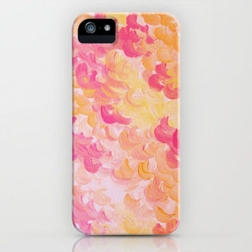 PINK PLUMES - Soft Pastel Wispy Pretty Peach Melon Clouds Strawberry Pink Abstract Acrylic Painting  iPhone Case by EbiEmporium | Society6