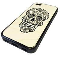 For Apple iPhone 5C REAL MAPLE WOOD WOODEN Case Cover Skin Day of the Dead Sugar Skull Mono Pattern DESIGN BLACK RUBBER SILICONE Teen UNIQUE CUSTOM Gift Vintage Hipster Fashion Design Art Print Cell Phone Accessories