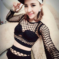 Women Sexy Hollow Net Stage Wear Dance Female Clothing Set Punk Costumes Nightclub Singer Dancewear Female Singer outfit
