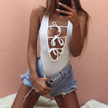 Ribbed Bow Bodysuit