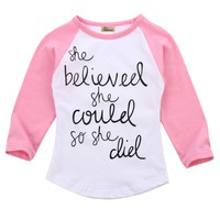 Fashion Toddler Kids letters printting T-Shirt Baby Girls Tees Long Sleeve T-shirt  Tops Clothes Size 1-6T
