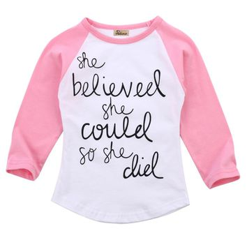 Baby Girl She Believed She Could So She Did Pink Raglan Sleeve T-Shirt Top