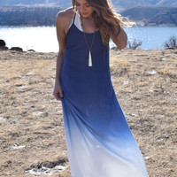 River Side Ombre Maxi Dress Blue