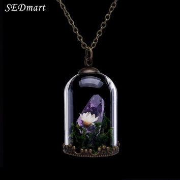 SEDmart Handmade Dried Flower Glass Locket Raw Amethyst Citrine Healing Crystal Terrarium Natural Stone Pendant Necklace Women