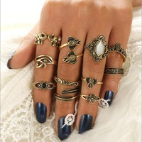 Antique Gold Elephant Parade Boho 11 PC Ring Set
