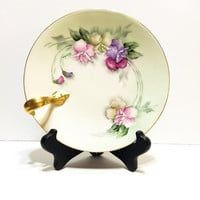 Antique Hand Painted T&V Limoges Plate, Handle Plate, Nappy Plate, Signed, Pink Purple Green,  Sweet Peas, 1900-1909