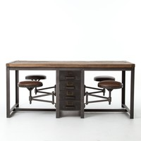 ALAN WORK TABLE-RUSTIC BLK/BP