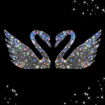 YIKA 2017 Vogue Swan Crystal Diamond Car Stickers Rhinestone Automobiles Interior Decoration for Car Styling