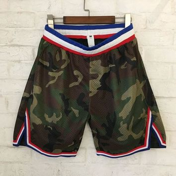 FOG Camo Shorts Men Women Summer Mesh Military Skateboard Striped Shorts 2018 Kanye West High Quality Camouflage Mesh Shorts